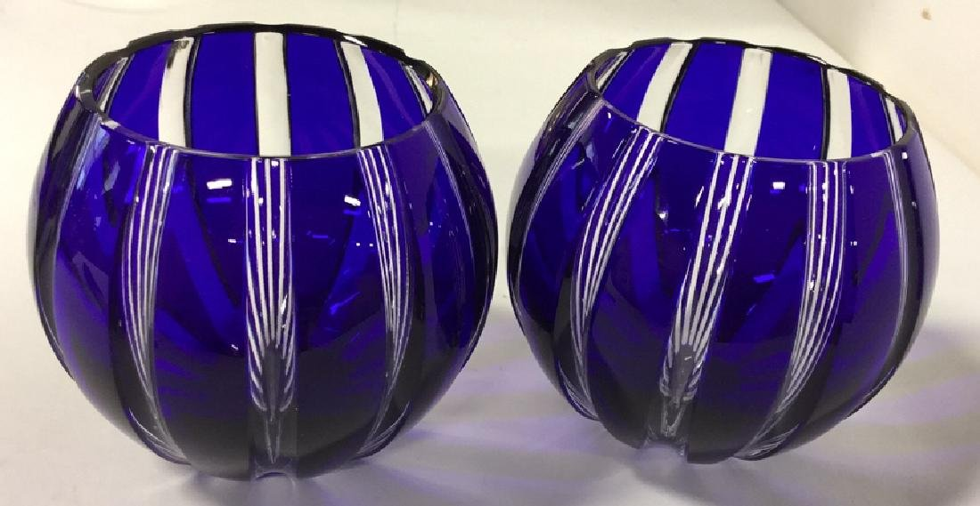 Pair Of Blue Faberge Votive Holders