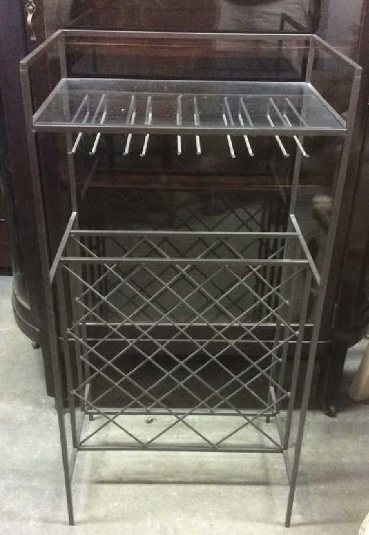 Metal Wine Rack W Glass Top Shelf