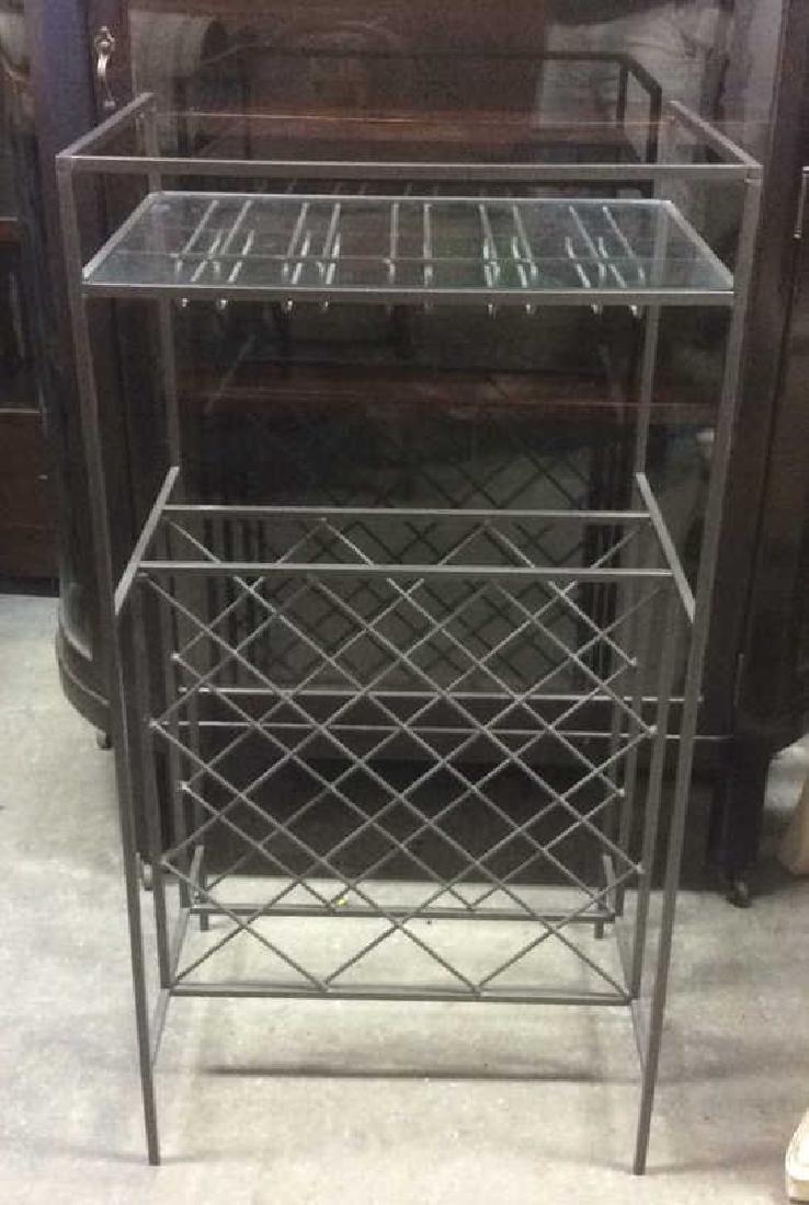 Metal Wine Rack W Glass Top Shelf - 4