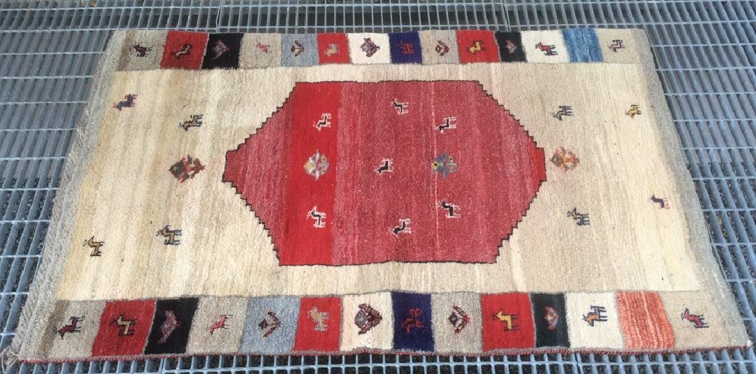 Persian Handwoven Red Cream Wool Rug - 10