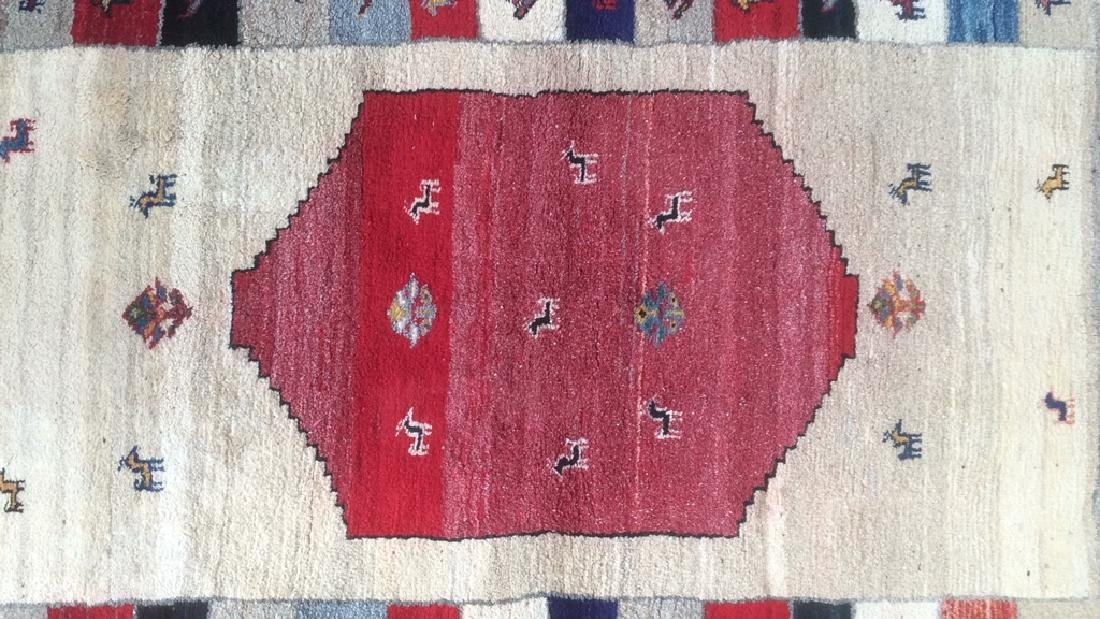 Persian Handwoven Red Cream Wool Rug - 2