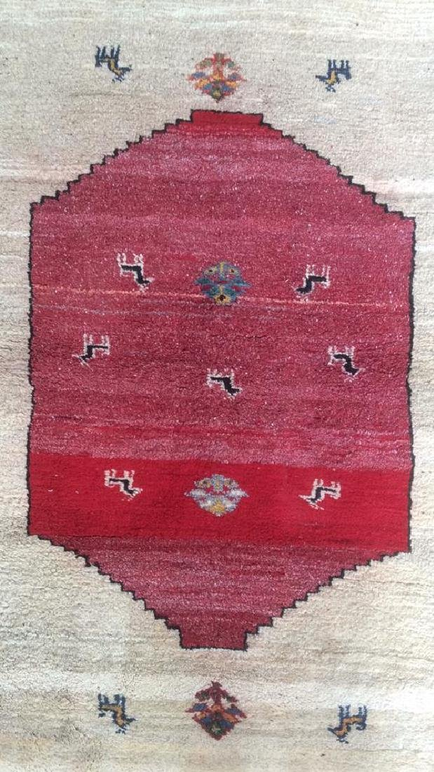 Persian Handwoven Red Cream Wool Rug - 5