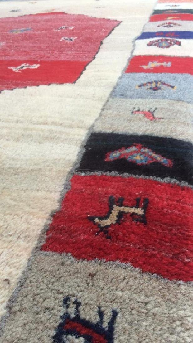 Persian Handwoven Red Cream Wool Rug - 7