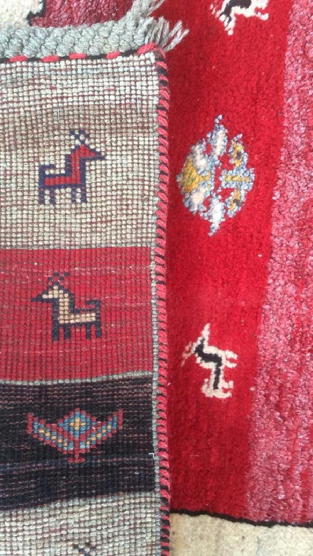 Persian Handwoven Red Cream Wool Rug - 9
