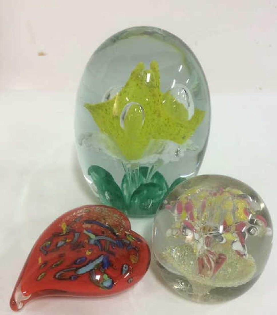 Lot 3 Venetian Art Glass Paperweights - 2