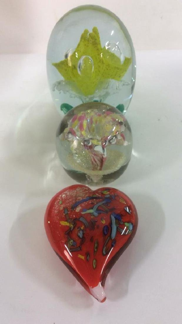 Lot 3 Venetian Art Glass Paperweights - 9