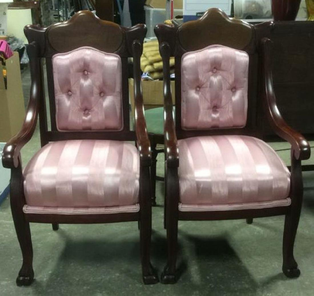 Pair Carved Mahogany Upholstered Armchairs