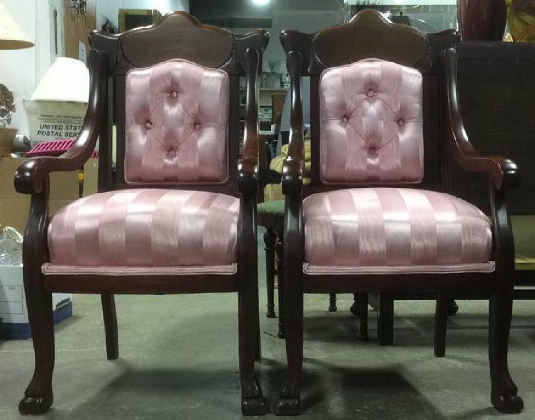 Pair Carved Mahogany Upholstered Armchairs - 2