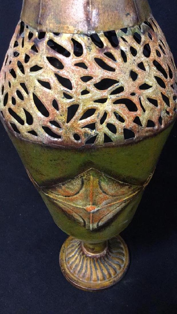 Ornate Painted Gold Toned Metal Vase With Handles - 10