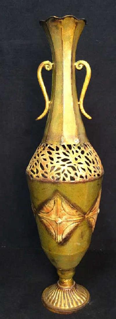 Ornate Painted Gold Toned Metal Vase With Handles