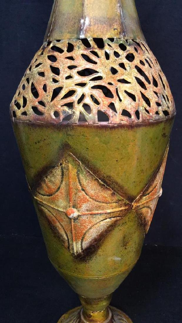 Ornate Painted Gold Toned Metal Vase With Handles - 2