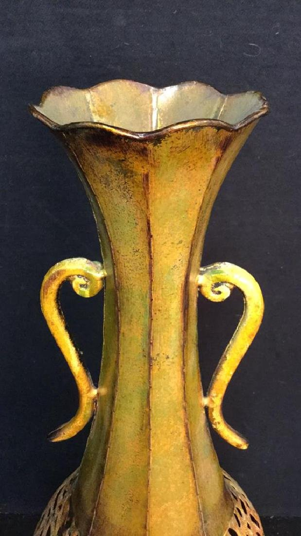 Ornate Painted Gold Toned Metal Vase With Handles - 3