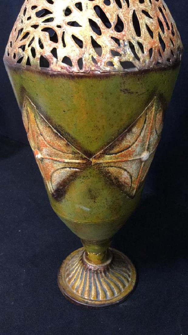 Ornate Painted Gold Toned Metal Vase With Handles - 7