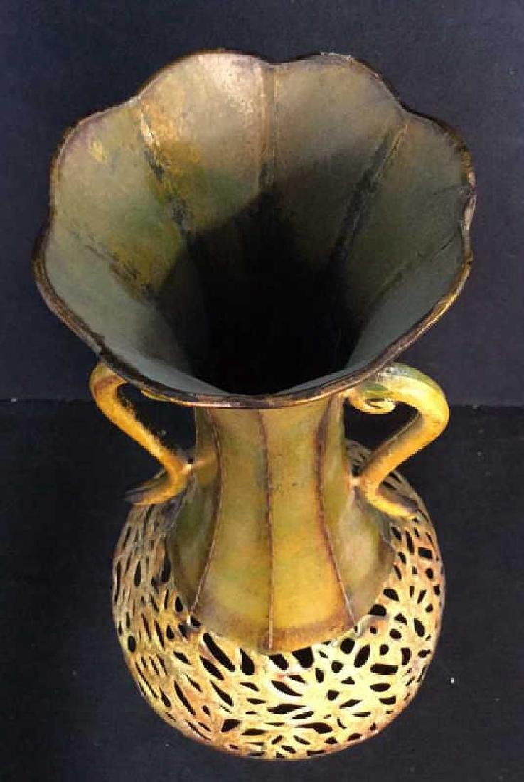 Ornate Painted Gold Toned Metal Vase With Handles - 8