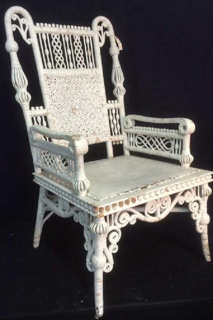 White Toned Antique Wicker Arm Chair