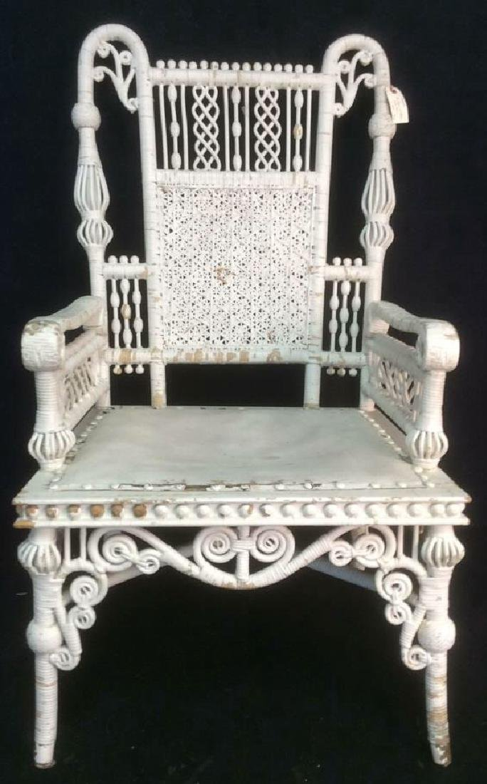 White Toned Antique Wicker Arm Chair - 2