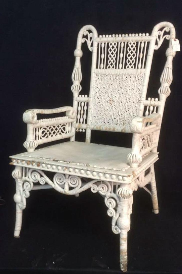 White Toned Antique Wicker Arm Chair - 3