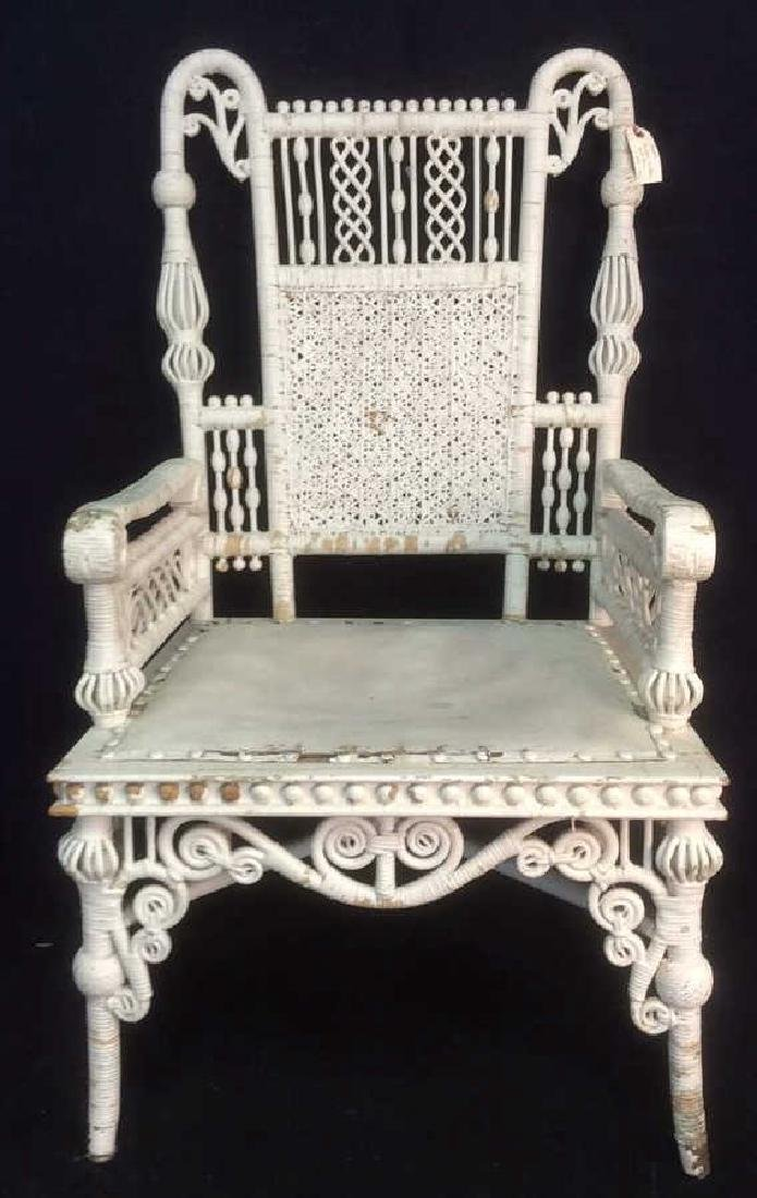White Toned Antique Wicker Arm Chair - 4