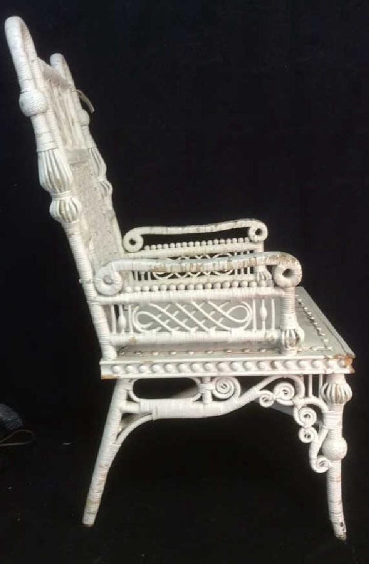 White Toned Antique Wicker Arm Chair - 5