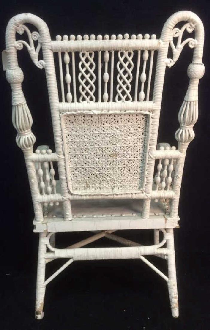 White Toned Antique Wicker Arm Chair - 6