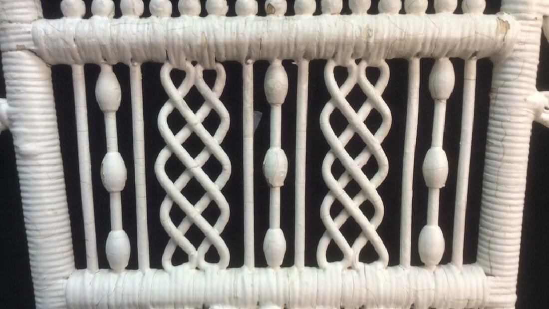White Toned Antique Wicker Arm Chair - 7