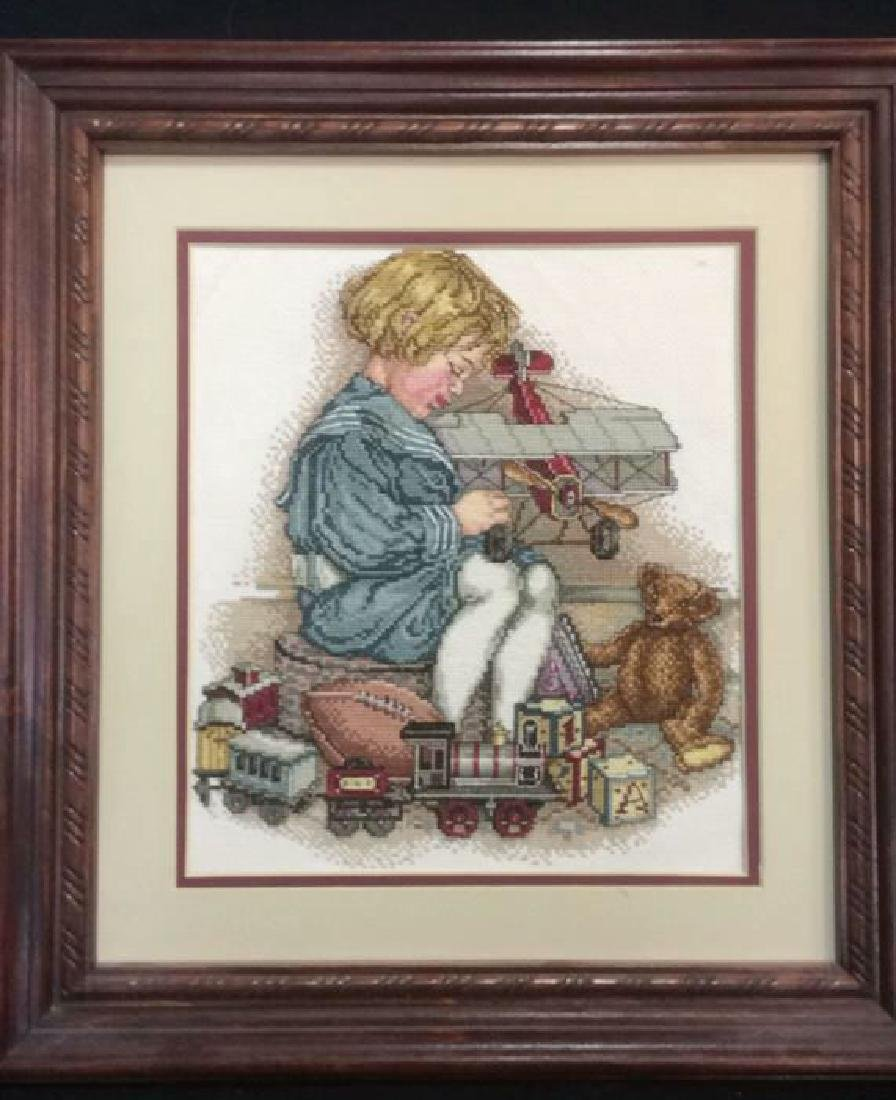 Framed Needlepoint Artwork - 2