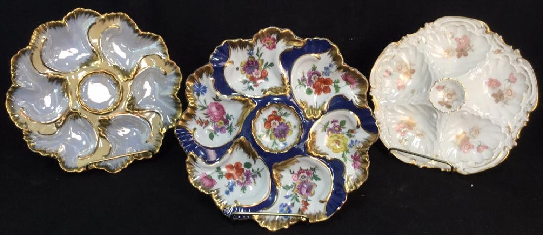 Lot 3 LIMOGES PORCELAIN//CERAMIC OYSTER PLATES