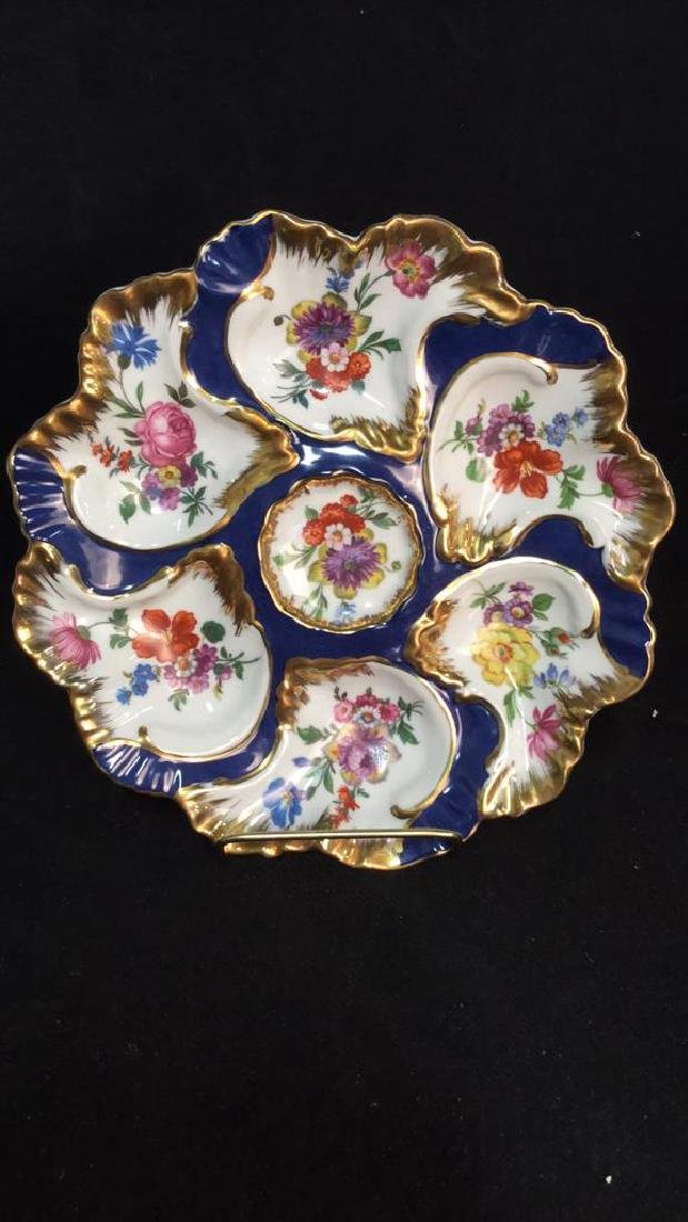 Lot 3 LIMOGES PORCELAIN//CERAMIC OYSTER PLATES - 2