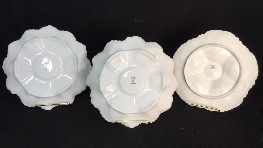 Lot 3 LIMOGES PORCELAIN//CERAMIC OYSTER PLATES - 4