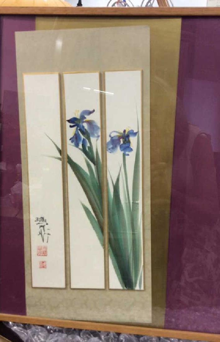Signed 3 Panel Asian Watercolor Lillies - 2