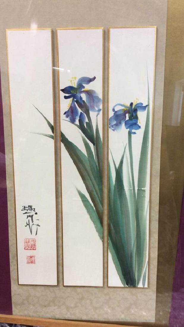 Signed 3 Panel Asian Watercolor Lillies - 3
