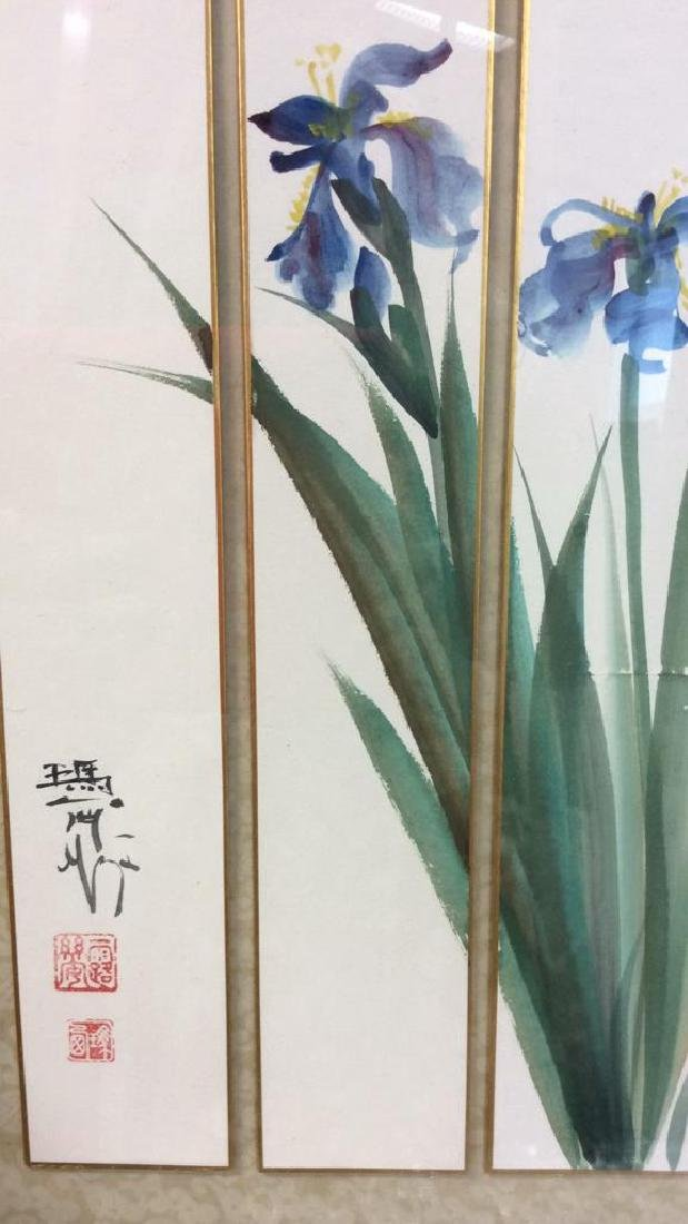 Signed 3 Panel Asian Watercolor Lillies - 4