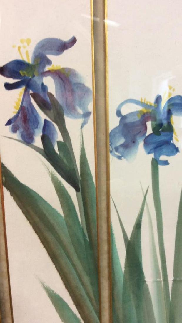 Signed 3 Panel Asian Watercolor Lillies - 5