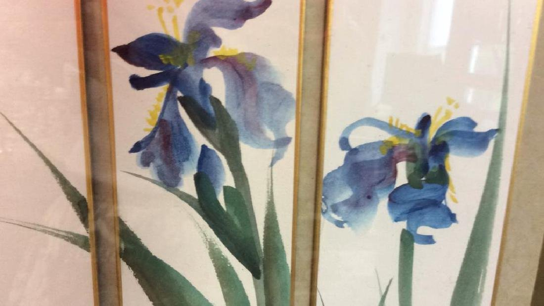 Signed 3 Panel Asian Watercolor Lillies - 8