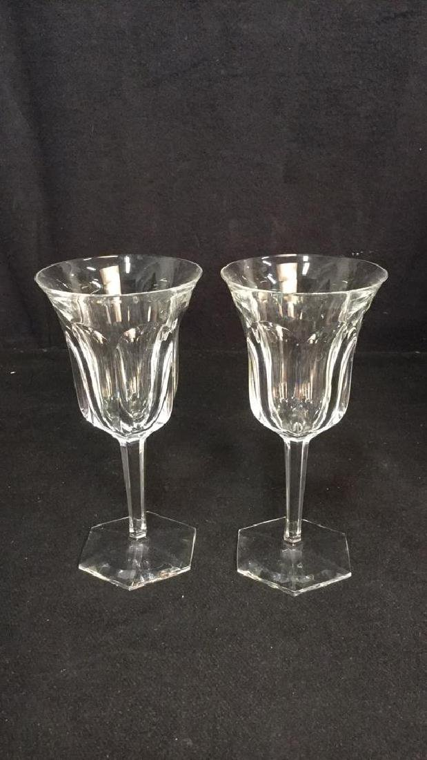 Pair Signed Baccarat Crystal Wine Glasses - 10