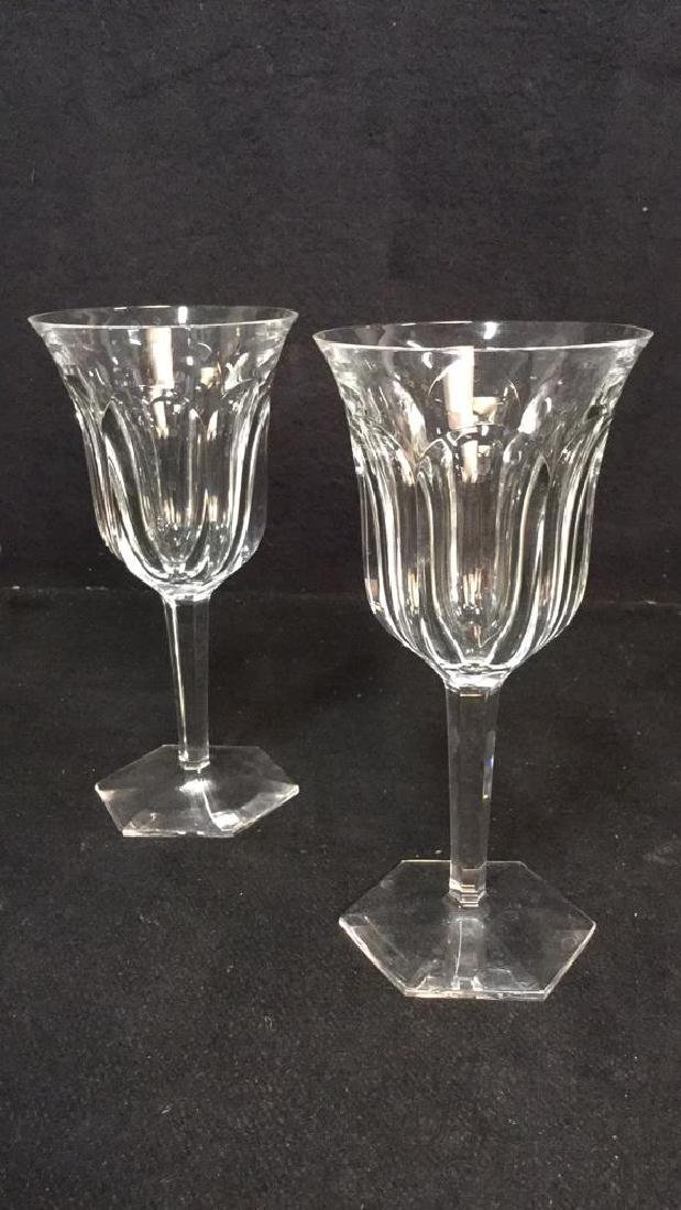 Pair Signed Baccarat Crystal Wine Glasses