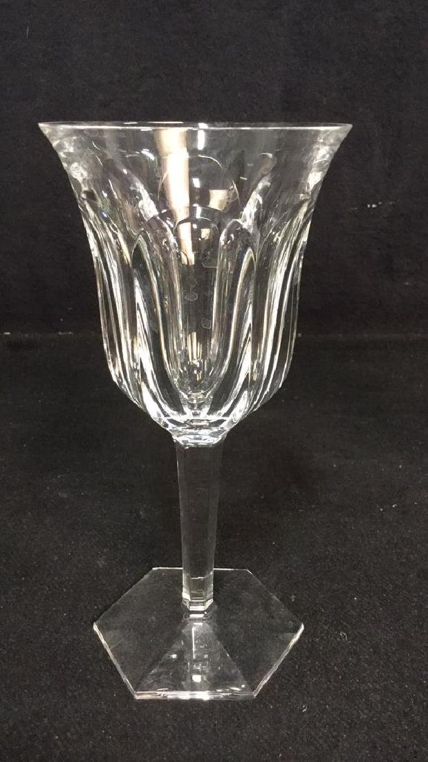 Pair Signed Baccarat Crystal Wine Glasses - 4