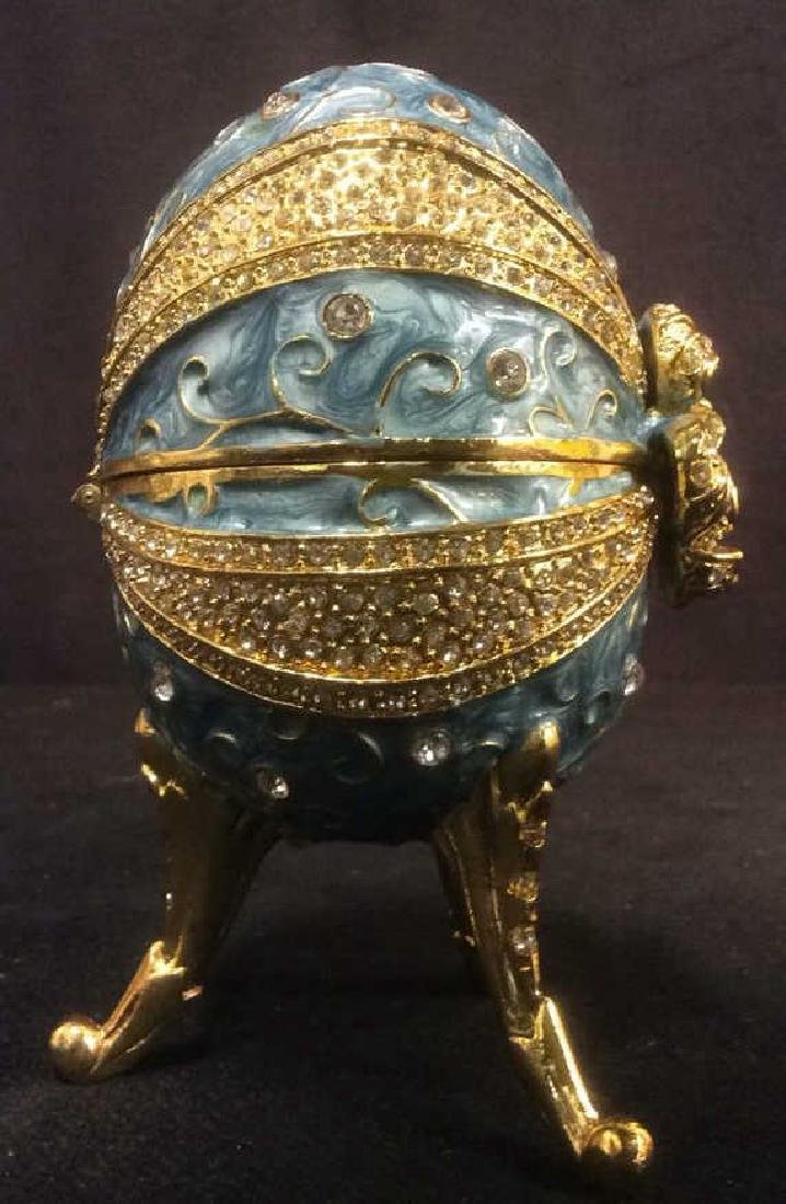 Ornate Gold & Sky Blue Toned Egg Music Box - 10
