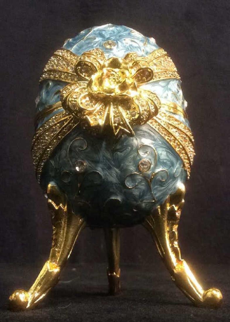 Ornate Gold & Sky Blue Toned Egg Music Box - 2