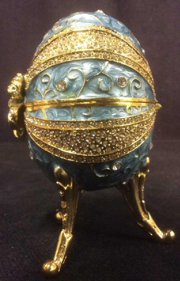 Ornate Gold & Sky Blue Toned Egg Music Box - 9