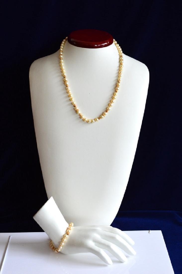"18"" Pearl Necklace w 14k Gold & Matching Bracelet"