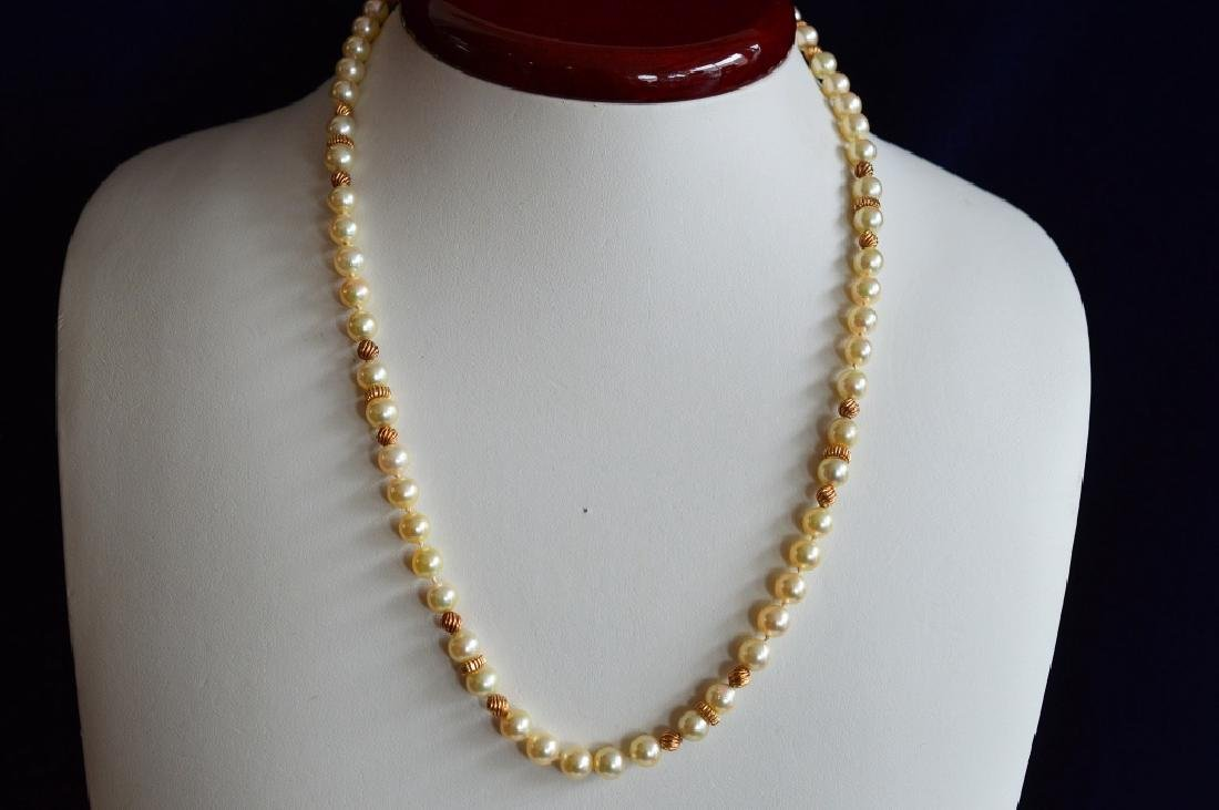 "18"" Pearl Necklace w 14k Gold & Matching Bracelet - 2"