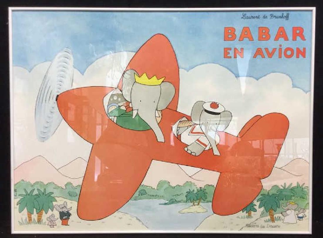LAURENT DE BRUNHOFF BABAR EN AVION Poster