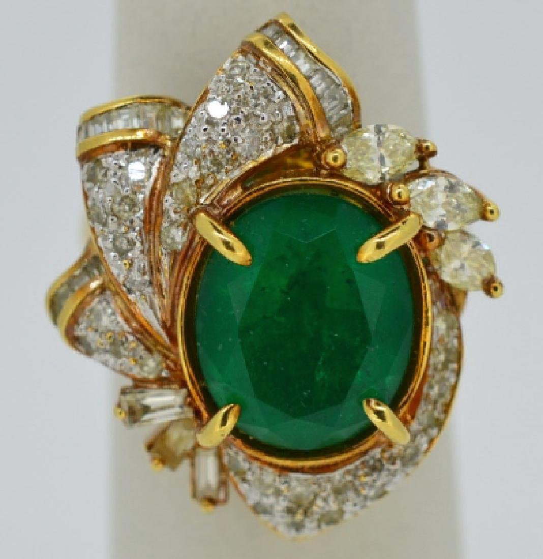 Ladies Beryl,Diamond & 18k Yellow Gold Ring