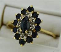 Ladies SapphireDiamond  14k Yellow Gold Ring