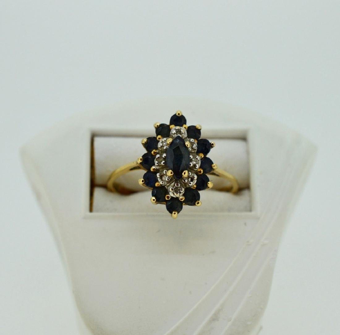 Ladies Sapphire,Diamond & 14k Yellow Gold Ring - 2