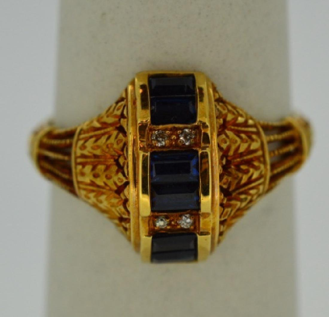 Ladies18k Yellow Gold,Sapphire & Diamond Ring