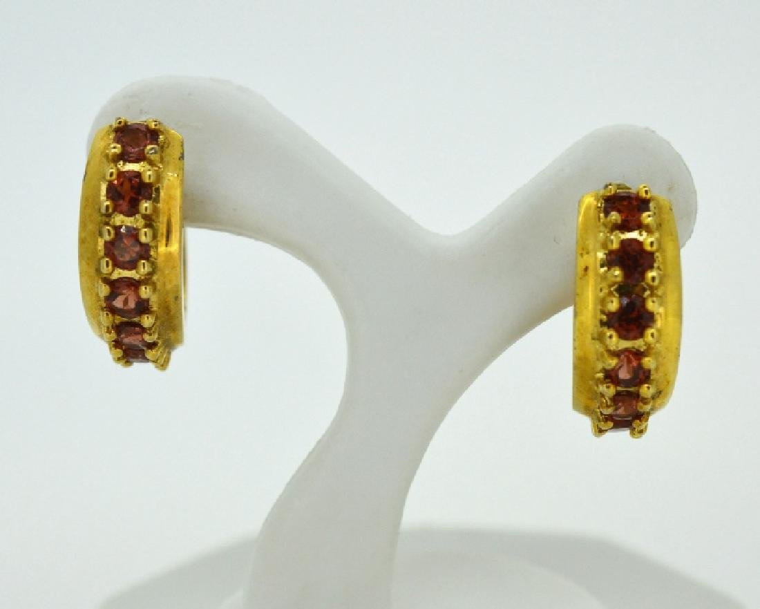Ladies Gold Plated Sterling Earrings w Red Stones
