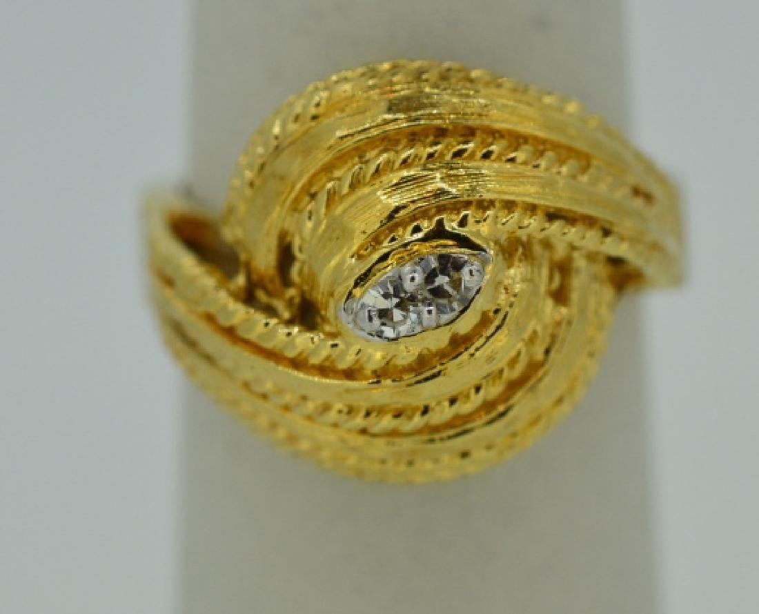 Ladies 14k Yellow Gold Knot Ring w Diamonds Size 7