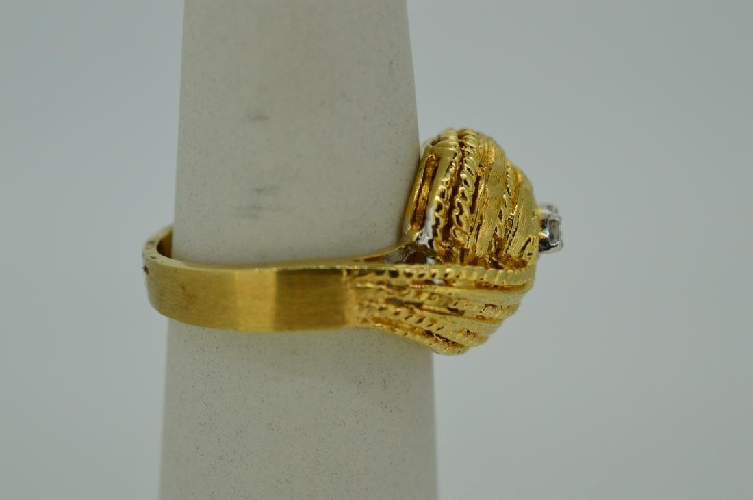 Ladies 14k Yellow Gold Knot Ring w Diamonds Size 7 - 2
